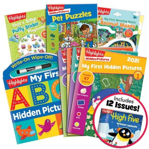 Deluxe Preschool Gift Set with 4 books, My First Hidden Pictures 2021 4-book set and High Five magazine subscription