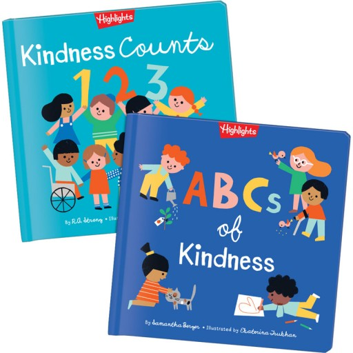 Two hardcover books: Kindness Counts 123 and ABCs of Kindness