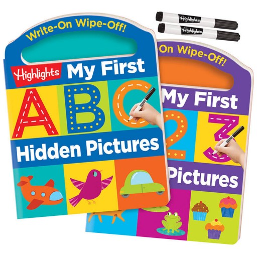 Write-On Wipe-Off My First ABC and 123 Hidden Pictures Set with 2 dry-erase markers