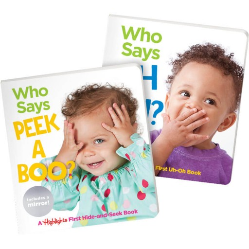 Who Says Peekaboo? and Who Says Uh Oh? baby board books